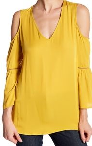 Pleione Cold Shoulder Bell Sleeve Blouse